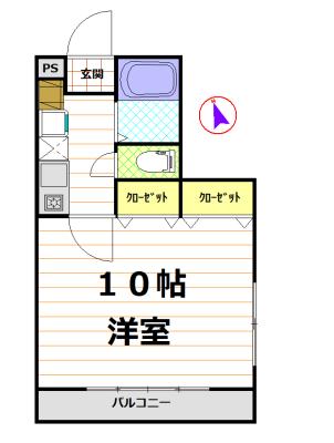 バス・トイレ別の1K♪(間取)