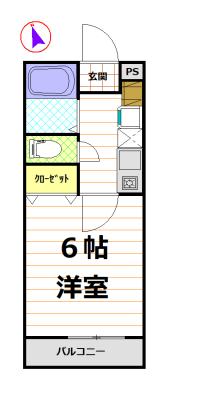 バストイレ別の1K(間取)